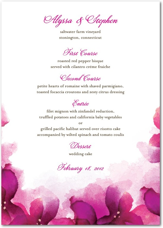 Signature white textured menus, Vivid Blooms