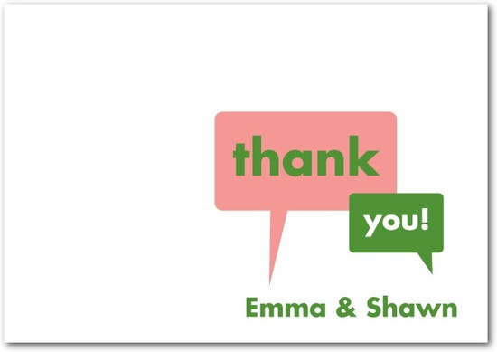 photo of Signature white textured thank you cards, Exciting News