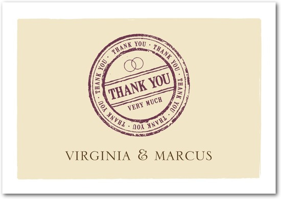 photo of Signature white textured thank you cards, Certified Stamp