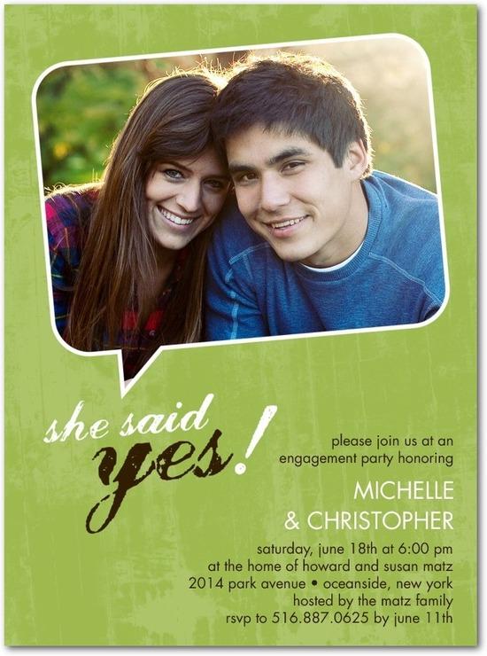 photo of Signature white photo engagement party invitations, Photo Bubble