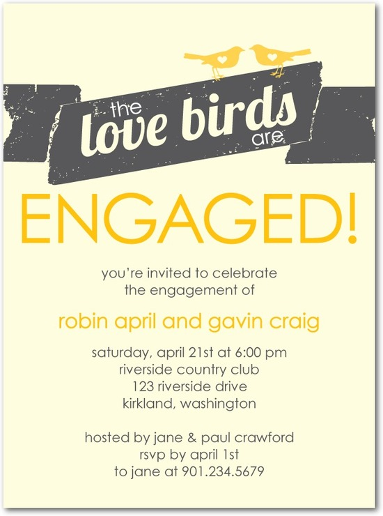 photo of Signature ecru engagement party invitations, Love Bird Banner