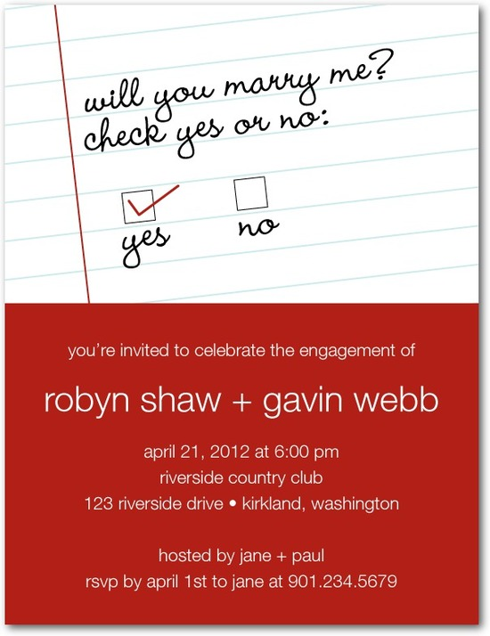 photo of Signature white engagement party invitations, Check Yes