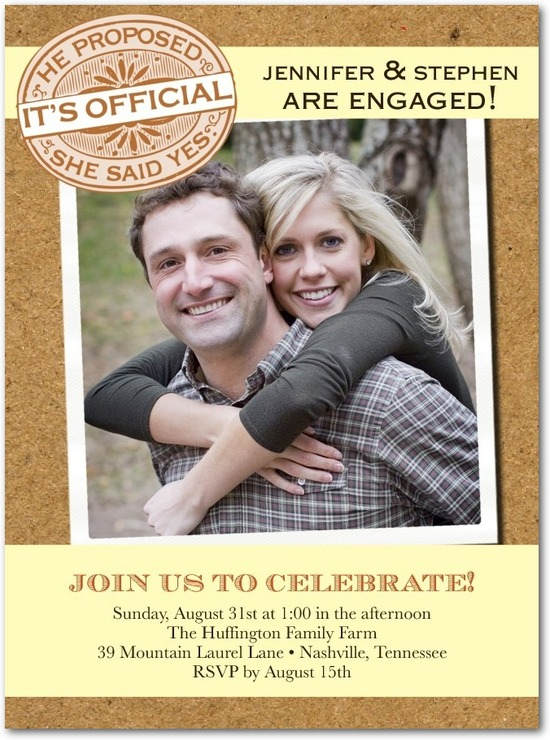 photo of Signature white photo engagement party invitations, Community Bulletin
