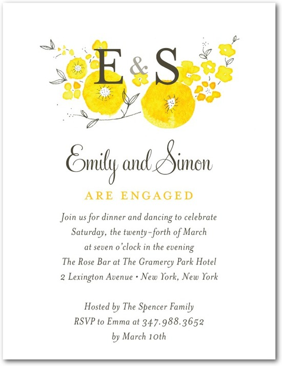Signature white textured engagement party invitations, Sunny Monogram