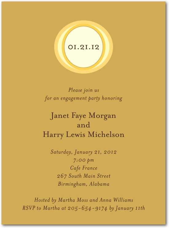 Signature white engagement party invitations, Illustrated Ring