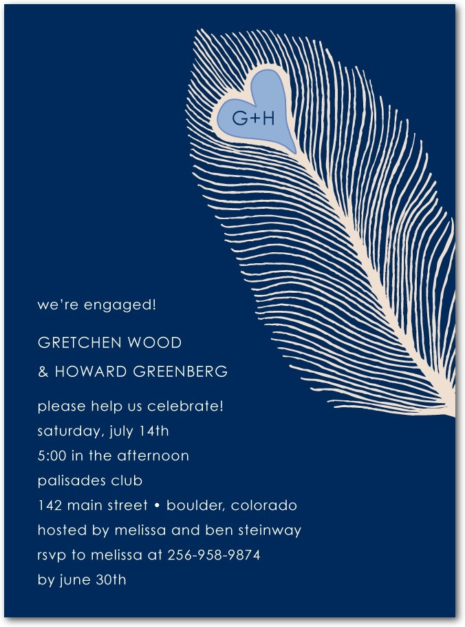 Signature white engagement party invitations, Lovely Feather