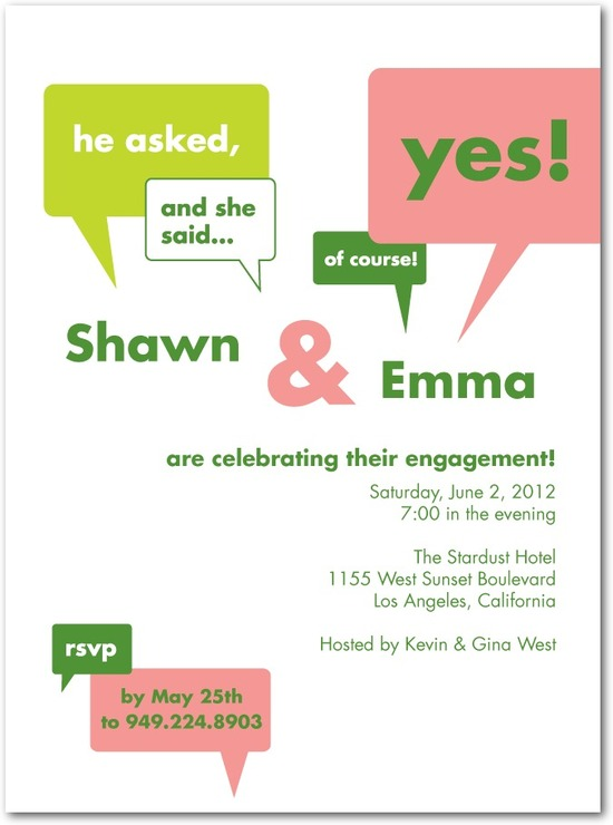 photo of Signature white textured engagement party invitations, Exciting News