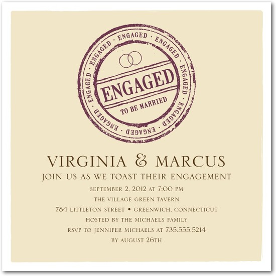 photo of Signature white textured engagement party invitations, Certified Stamp