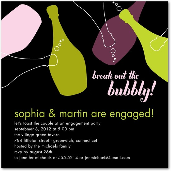 photo of Signature white engagement party invitations, Bountiful Bubbly