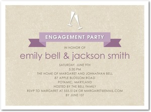 photo of Signature white textured engagement party invitations, Champagne Banner