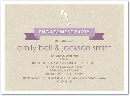Signature white textured engagement party invitations, Champagne Banner