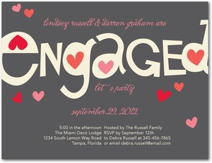 photo of Signature white engagement party invitations, Totally Smitten