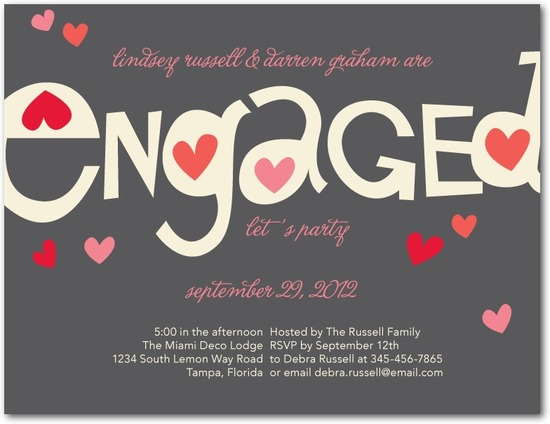 Signature white engagement party invitations, Totally Smitten