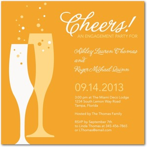 photo of Signature white engagement party invitations, Deco Delight
