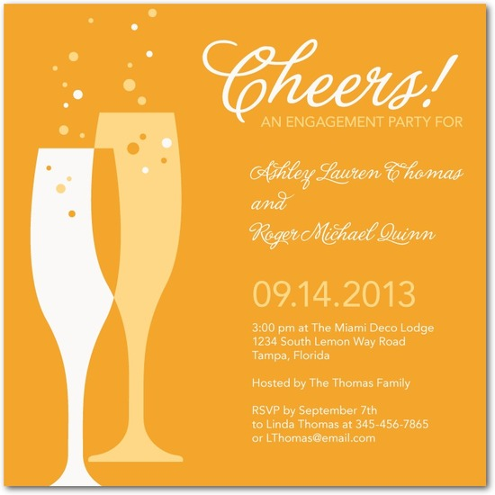 Signature white engagement party invitations, Deco Delight