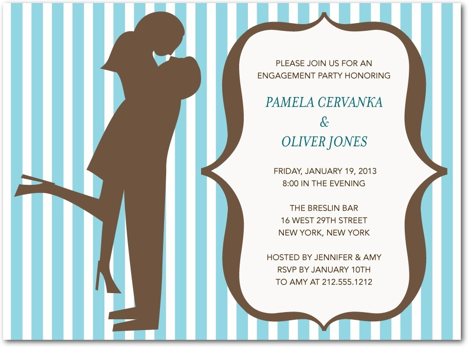 Signature white engagement party invitations, Silhouette Moment