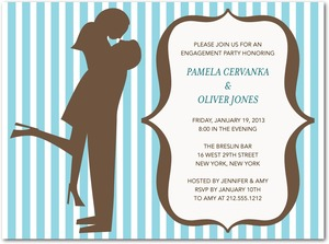 photo of Signature white engagement party invitations, Silhouette Moment