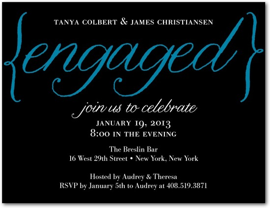 Signature white engagement party invitations, Elegantly Engaged