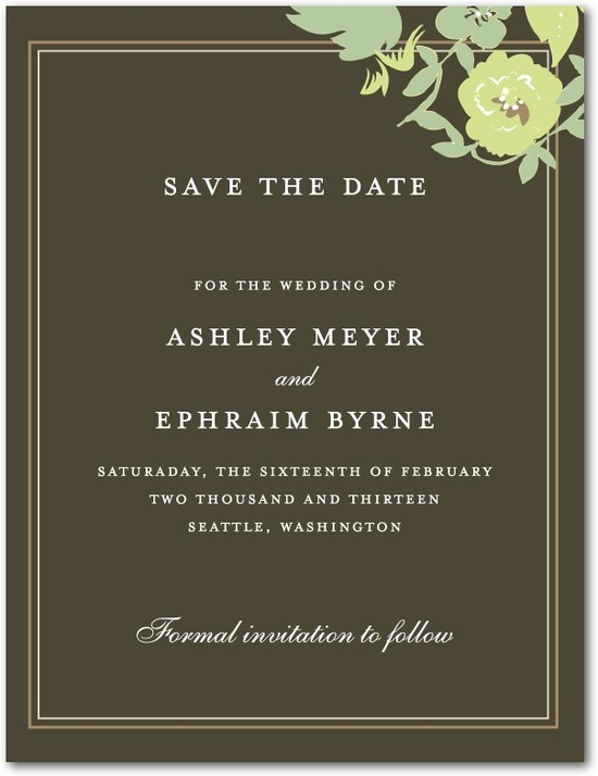 photo of Signature white save the date cards, Secret Garden