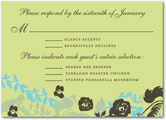 photo of Signature white wedding response cards, Secret Garden
