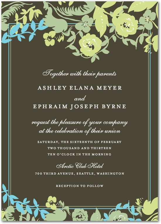 Signature white wedding invitations, Secret Garden