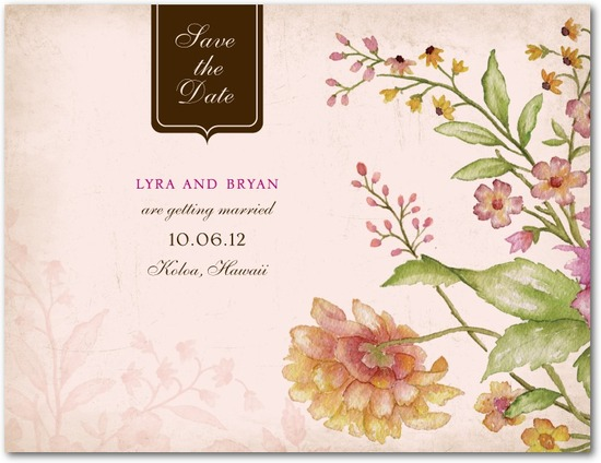 Signature ecru save the date cards, Floral Tapestry