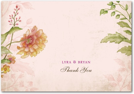 photo of Signature ecru thank you cards, Floral Tapestry