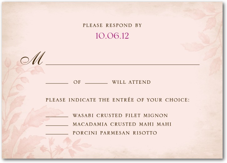 Signature ecru wedding response cards, Floral Tapestry