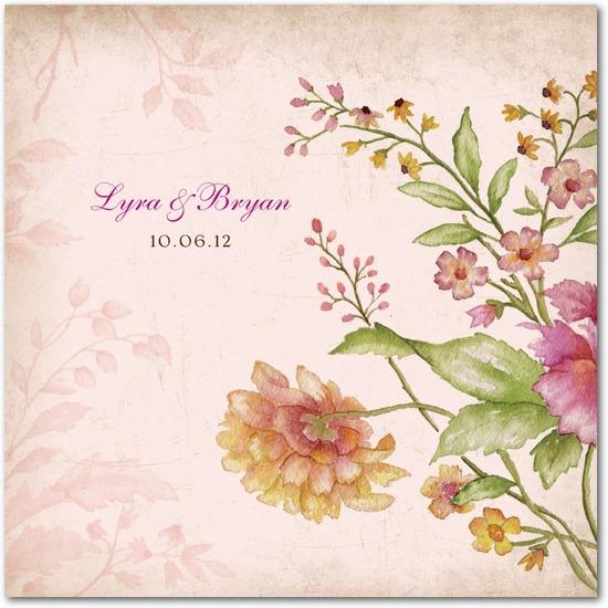 photo of Signature ecru wedding invitations, Floral Tapestry