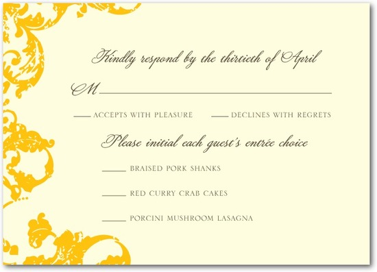 photo of Signature ecru wedding response cards, Distressed Damask