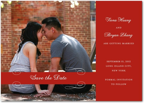 Signature white save the date cards, Scrolled Band