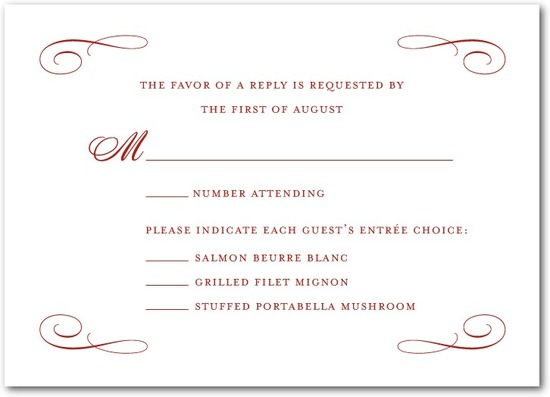 Signature white wedding response cards, Scrolled Band
