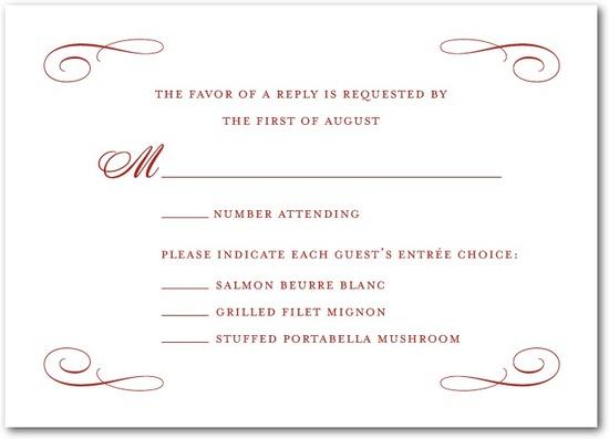 photo of Signature white wedding response cards, Scrolled Band
