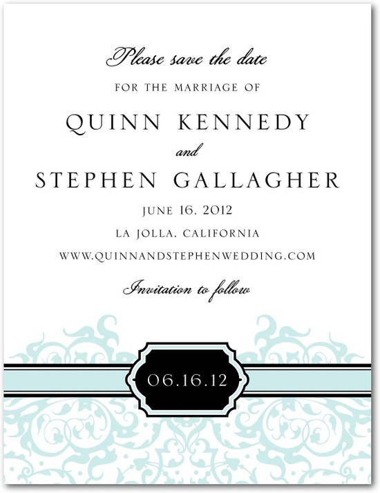 Signature white textured save the date cards, Monogram Damask
