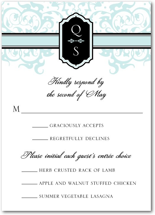 photo of Signature white textured response cards, Monogram Damask
