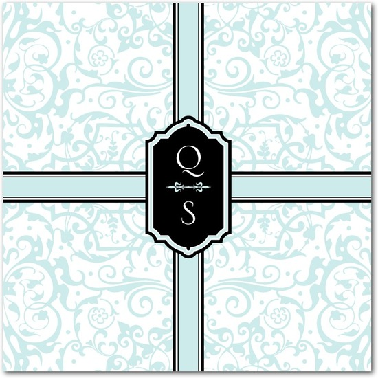Signature white textured wedding invitations, Monogram Damask