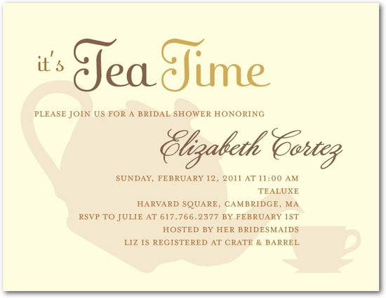 Signature white bridal shower invitations, High Tea