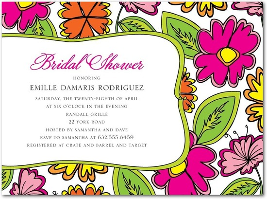 photo of Signature white bridal shower invitations, Vibrant Summer