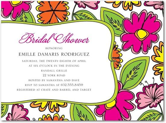 photo of Signature white bridal shower invitations, Vibrant Summer