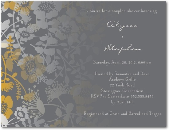 photo of Signature white bridal shower invitations, Fading Wildflowers