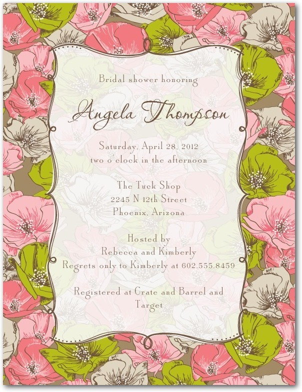 photo of Signature white bridal shower invitations, Antique Blooms