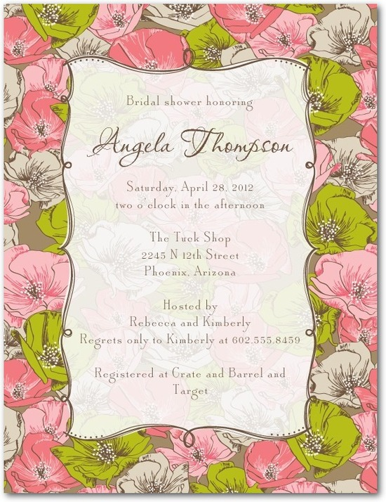 Signature white bridal shower invitations, Antique Blooms