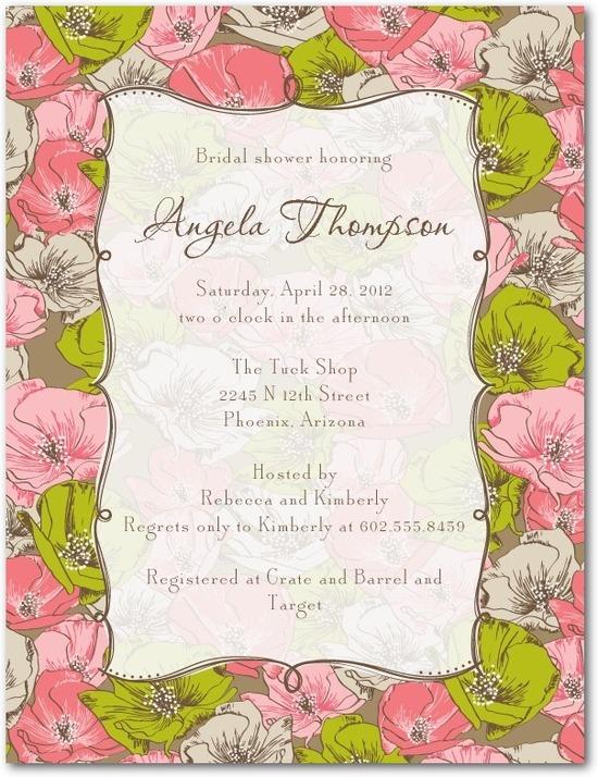 photo of Signature white bridal shower invitations, Antique Blooms