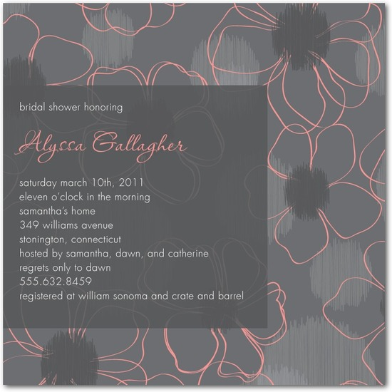 Signature white bridal shower invitations, Floral Sketch