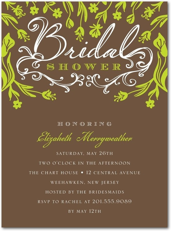 Signature white bridal shower invitations, Forest Grove