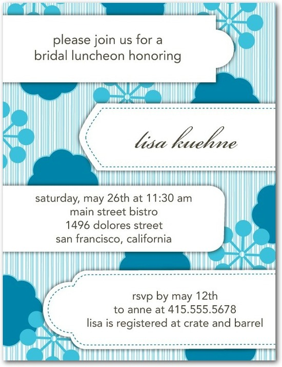 Signature white bridal shower invitations, Floral Tabs