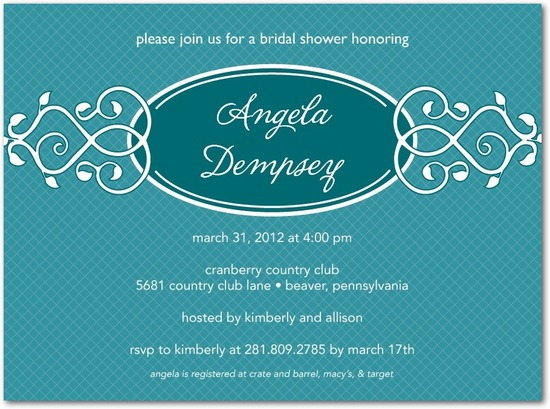 Signature white bridal shower invitations, Vine Trellis