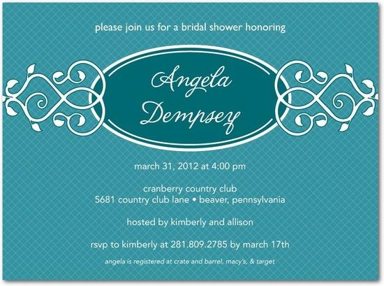 photo of Signature white bridal shower invitations, Vine Trellis