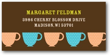 Personalized address labels, Charming Teacups