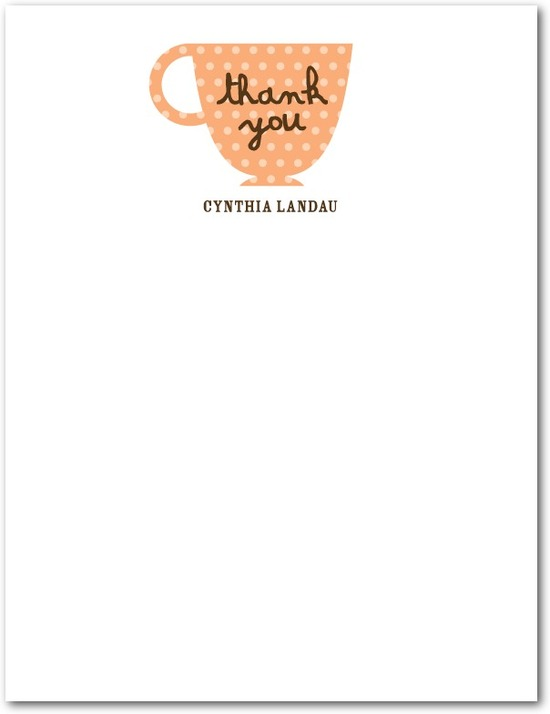 Signature white thank you cards, Charming Teacups